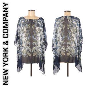 New York & Company Sheer Paisley Blue Blouse S/M